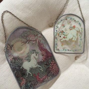 2 glass and metal unicorn wall or window hangings, nature, deer, horse, floral