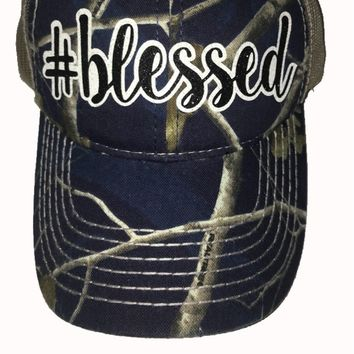 #Blessed Blue Realtree Branded Camo Hat with