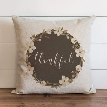 Fall Pillow Cover // Thankful Floral Wreath