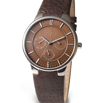 Skagen 331XLSLD1 Men's Denmark Quartz Brown Dial Leather Strap Watch