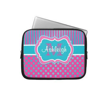 Pink Blue White Polka Dots Striped Laptop Sleeve from Zazzle.com