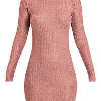 Laila Rose Gold Ribbed High Neck Bodycon Dress