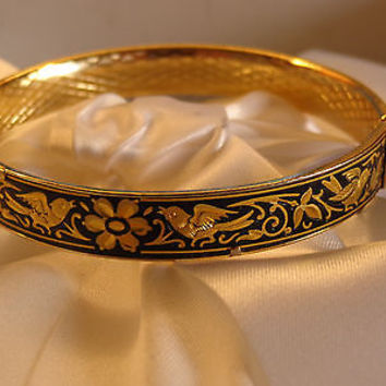VTG 24k Gold Damascene TOLEDO SPAIN Bangle Bracelet Damasquinado  MIDAS Jewelry