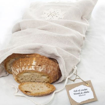 Natural Linen Bag, Reusable Bread Keeper Storage Bag For Homemade Loaves, Ready to ship