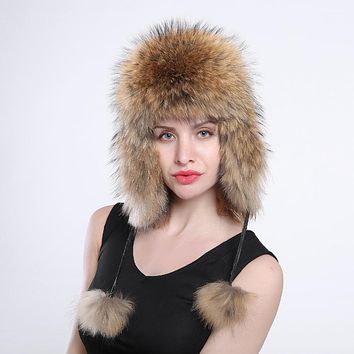 women's genuine fox fur Trapper Hat with pom poms winter ear flaps bomber hats muti colors Russian Ushanka outdoor caps