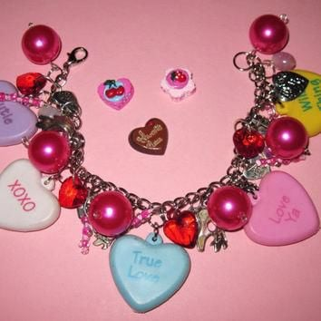 Valentine's Day Charm Bracelet Conversation Candy Heart Charms Beads Trinkets Sweethea