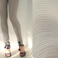 Grey mesh leggings MADE TO ORDER stripy spring and by Bartinki