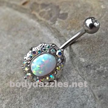 Sparkly Fire Opal White Belly Button Silver Navel Ring Body Jewelry Fits in Navel 14ga Cute Belly Ring