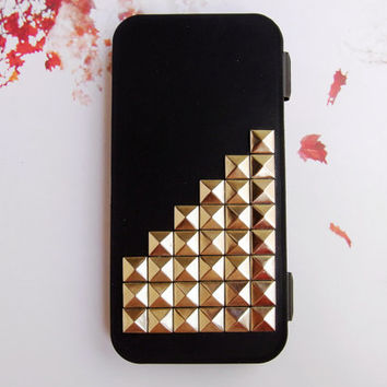 Protective Silicone Flip Deluxe Curve Cool surface cover 3D Metal Studded Trim pyramid Russian Puzzle FULL Case  for iPhone 5 5G Black