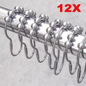 12pcs/pack Polished Satin Nickel 5 Roller Ball Shower Curtain Rings Hooks