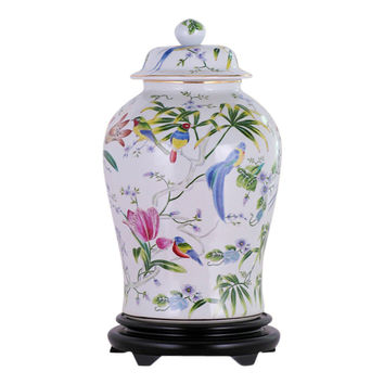 Beautiful Porcelain Chinoiserie Bird Scene Temple Jar 19""