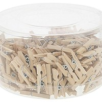 Mini Wooden Peg Pin Clothespins - Natural Wood Finish - for Crafts, Photo Clips, Home Decoration, and More - Tan - 200 Pieces - .9 Inch (2.5 Cm)