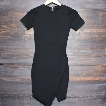 asymmetrical hem bodycon dress