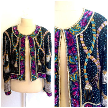 Retro Beaded Silk Gatsby Jacket