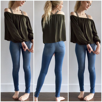 Off Shoulder Top in Olive