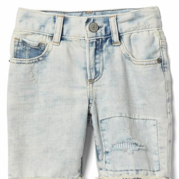 Stretch rip & repair bleach shorts | Gap