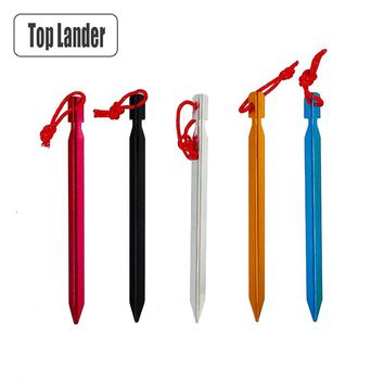 18 cm Tent Pegs Aluminum Tent Stakes Nail For Camping Tent Rope Ultralight Tent Accessories 2 4 6 8 pcs Equipment Outdoor Travel