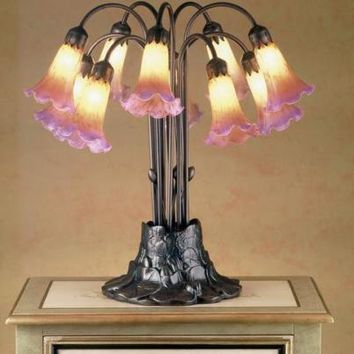 "Meyda Tiffany Amber & Purple 22"" Pond Lily 10 Light Stained Art Glass Table Lamp"