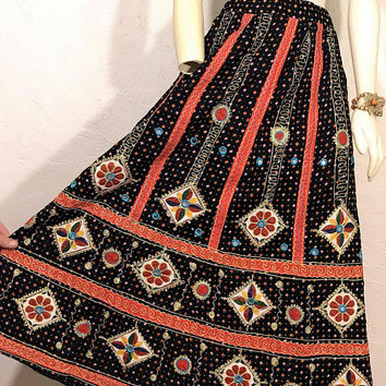 Vintage Indian Cotton Maxi Skirt / Embroidered Boho Gyspy Skirt with Mirrored Detail / Eastern Gujarat Black Red Yellow Blue Green Skirt