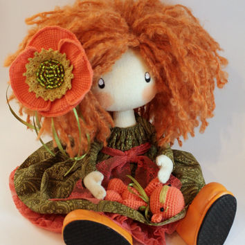 Doll Ivi redhead cloth doll doll handmade orange and green