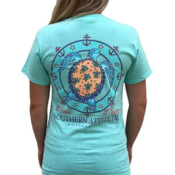 Southern Attitude Preppy Lil Snappy Turtle Seafoam T-Shirt