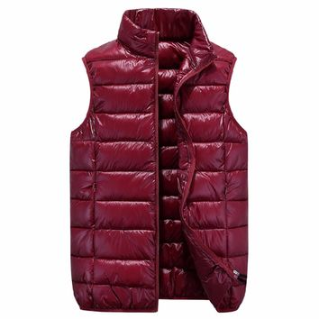 Tengo Brand Down Jacket Vest for Women and Men Winter Down Vest Waistcoat Female Male Light Warm Outerwear Coat