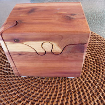 Handcrafted 4 Piece Red Cedar Puzzle Box with inner secret compartment