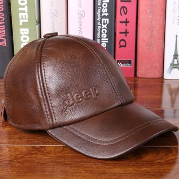 Trendy Winter Jacket 2017 New Genuine Leather Hat Male Cowhide Autumn Winter Casual Cap Adult Thermal Middle Age Baseball Cap Hat for Man B-7251 AT_92_12