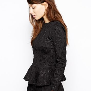 Baum und Pferdgarten Edoline Top in Embossed Fabric with Peplum - Blac