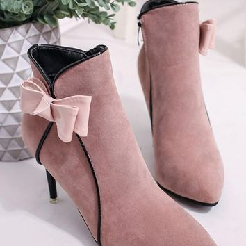 New Pink Point Toe Stiletto Bow Fashion Ankle Boots