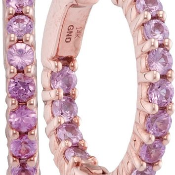 14kt Rose Gold Womens Round Pink Sapphire Inside Outside Huggie Earrings 1-7/8 Cttw