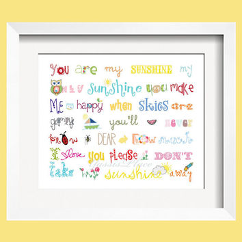 You Are My Sunshine Print 4x6 Rainbow colors for boys and girls room decor  - by Yassisplace