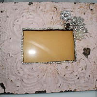 Pink Painted Chippy Tin Ceiling Picture Frame Embellished with Vintage Baubles Mother's Day Bridal...OOAK