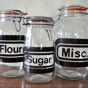 Vintage Glass Storage Jars with Brown Lettering, Flour Sugar Miscellaneous Jars, Swing Top, Kitchen Canisters, Mid Century Modern