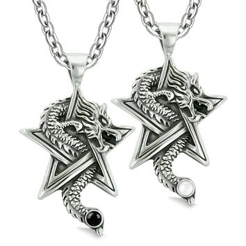 Courage Dragons Star Pentacle Amulets Love Couples Best Friends Simulated Cats Eye Onyx Necklaces