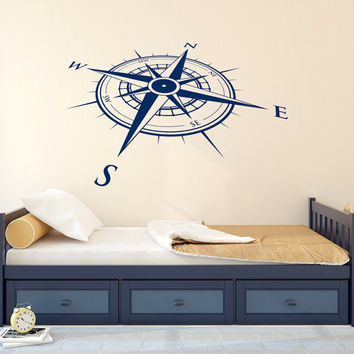 Nautical Compass Rose Wall Decal Vinyl Sticker North South West East- Compass Rose Wall Decals For Living Room Bedroom Nursery Wall Art C119
