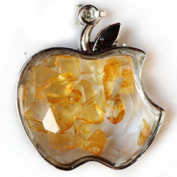 ZYH Sliver Beads Chain Natural Broken Stone in Apple-shaped Wishing Bottle Pendant Necklace Citrine Crystal