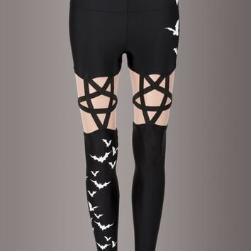 Living After Midnight Flying Bats Pentagram High Waist Leggings