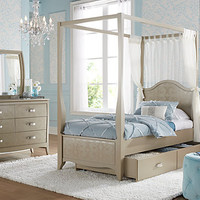 Belle Noir Champagne 6 Pc Full Canopy Bedroom