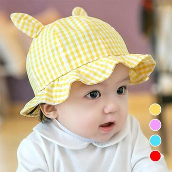 New Plaid Print Cotton Traveling Sun Hat Baby Summer Hat Kids Girls Rabbit Ears Cap Sun Bucket Hats Boys Caps gorro A3