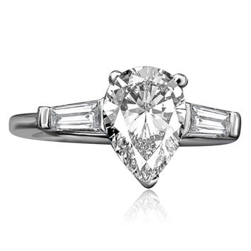 1.5 CT. Pear Center (side Baguette) Classic Style Sterling Silver Ring 635R72032