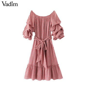Vadim women sexy slash neck plaid dress sweet ruffles sashes lantern sleeve ladies casual pleated dresses vestidos QZ3077