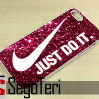 Nike Just Do It on Pink Sparkle Glitter - iPhone 4/4S, iPhone 5/5S, iPhone 5C and Samsung Galaxy S3, S4