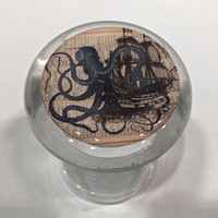 Octopus The Kraken Attacks Pirate Ship Vintage Medical Glass Stash Jar w/ Air Tight Lid