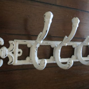 Wall Hook/Towel Hook / Coat Rack / Antique White/ Cast iron / Fleur de Lis Design/Shabby chic /Metal wall hook