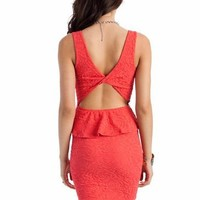 peplum lace dress $26.50 in BLACK CORAL - Dressy | GoJane.com