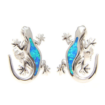 925 Sterling Silver Rhodium Hawaiian Gecko Lizard Blue Opal Post Stud Earrings