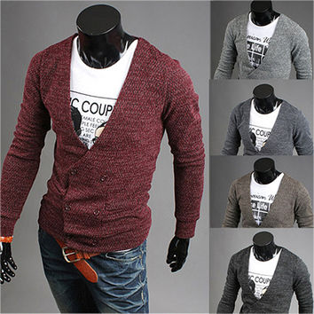 Double Breasted Slim Fit Men Fashion Cardigan