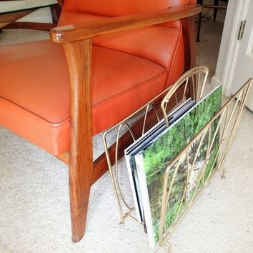 Mid Century Magazine Rack, magazine book record storage