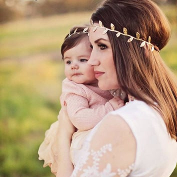 Mommy and Me or Sister and Me Boho Leaf Headbands - Gold or Silver